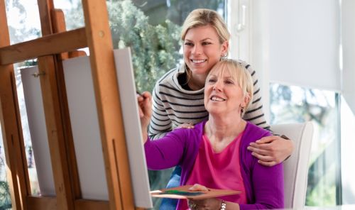 Women portrait with happy mom painting and daughter smiling